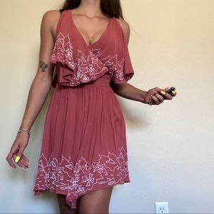 Free People Sylvia Beaded Wrap Dress Floral Sz S
